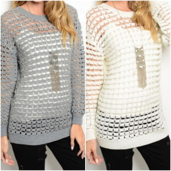 Front Tile Open Sweater