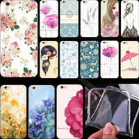 5 5S SE 1PC Fre Painted Bright Flowers Silicon Cover Case For Apple iPhone 5 iPhone 5S iPhone5S Cases Phone Shell Hot