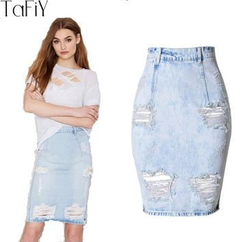 TaFiY 2017 Fashion High Waist Denim Skirt Washed Blue Pencil Skirts 100% Cotton Womens Hole Casual girls Summer jeans skirt midi