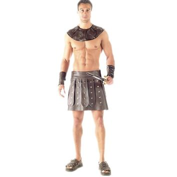 Mens Spartacus Roman Barbarian Gladiator Costume Halloween Costume for Men Acient Warrior Sexy Mens Costume