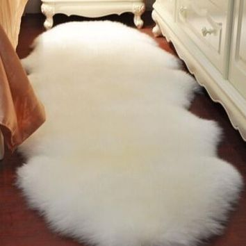 5 Colors Pure High-Quality 4-in-1Super Soft Washable Shiny Sheepskin Fur Wool Carpets Runner Rugs for Runner Floor Chairs Bed Ho