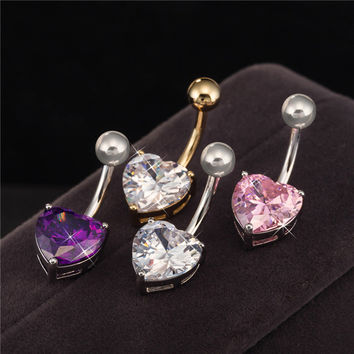 Body Piercing Jewelry Gold White Gold Color  Heart Zircon Cubic Bar Ball