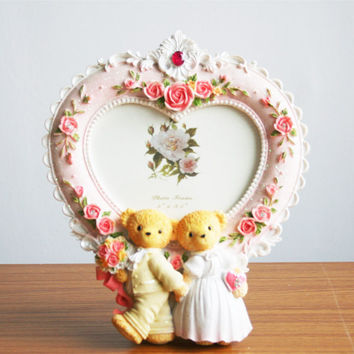 Retro Style Pink Rose Bear Wedding Heart Photo Frame Picture Resin 5'' X 3.5''
