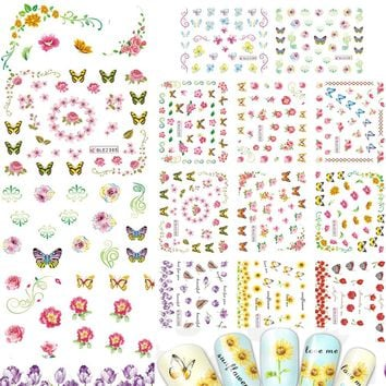 1sets 11 designs Nail Art DIY Water Transfer Sticker Beauty Sun Flower Lily Decor Accessory for Beauty Decals Nails BLE2380-2390