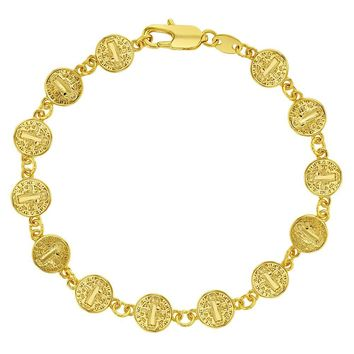18k Gold Plated Saint Benedict San Benito Medal Bracelet for Ladies or Women 8""