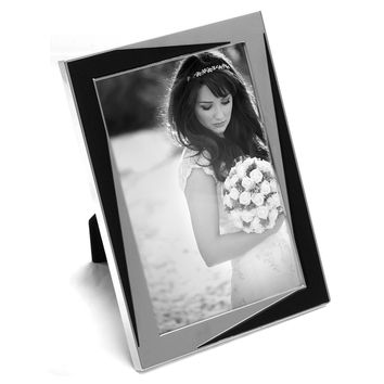 "Maxxi Designs Photo Frame with Easel Back, 5 x 7"", Shiny Silver Plated & Black Encore"