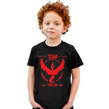 Go Boys T-shirt Children Tops Cartoon Team Mystic Kids T-shirts Tees Boy Blouse T Shirt Summer Cotton Baby ClothingKawaii Pokemon go  AT_89_9