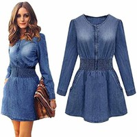 Sunward 2015 Spring Summer Women's Long Sleeve Elastic Waist Denim Dress Blue