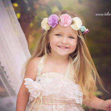 Allure Designs Eleanor Flower Crown Boho / Vintage / Baby Girl Women Headband / Christening / Wedding / Birthday / Flower Girl / Bridesmaid