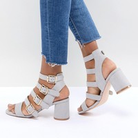 Faith Exclusive Buckle Block Heeled Sandals at asos.com