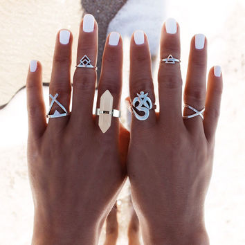 Lucky Omens Punk Rings Set-6 pcs