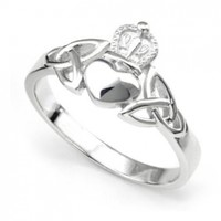 Nickel Free Sterling Silver Irish Claddagh Friendship and Love Band Celtic Ring w/ Trinity Symbols:Amazon:Jewelry