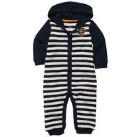 Cotton Snap-Up Hooded Jumpsuit