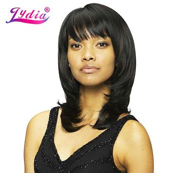Lydia For Black Women Synthetic Wigs With Right-Side Bang Medium Straight Nature Wig Mix Color P1B/30 African American Wigs
