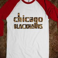 CHICAGO BLACKHAWKS CHEETAH BASEBALL TEE