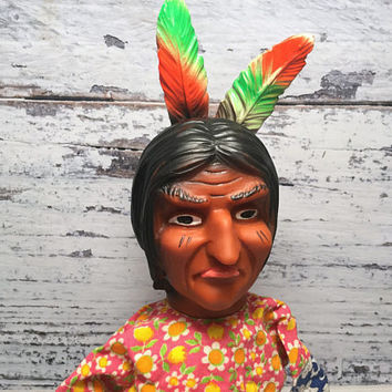 Vintage Hand Puppet . Native American Indian Puppet . Puppet Theatre . Vintage Doll . Vintage Toy .
