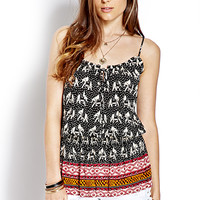 FOREVER 21 Elephant Frenzy Smocked Top Black/Cream Large