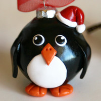 Kawaii Penguin Ornament with Santa Hat or not