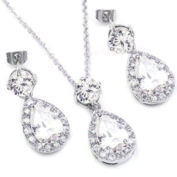 SHIP BY USPS: FC Silver White Gold GP Multi-color Crystal Teardrop Necklace Earrings fashion jewelry sets Valentines Day Gifts