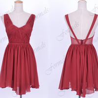 Mini Short Straps V neck Chiffon Wine Red Cocktail Dresses, Formal Gown, Mini Prom Dresses, Evening Gown, Wedding Party Dresses