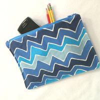 Organizer Travel Case Blue Stripe Pencil Case with Zipper  Back to School Ready to Ship School Supplies  Medication Storage Meds chevron