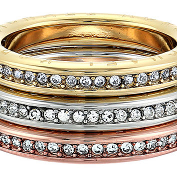 Michael Kors Tri-Tone and Pave Logo Grommet Stack Ring Set Multi - Zappos.com Free Shipping BOTH Ways