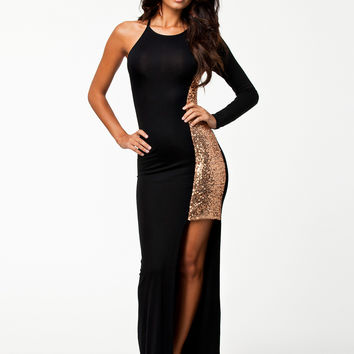 Black Half Sleeve with Sequined Side Slit Maxi Dress