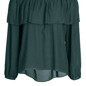 **Quiz Dark Green Chiffon Bardot Top - Eastern Opulence - Clothing