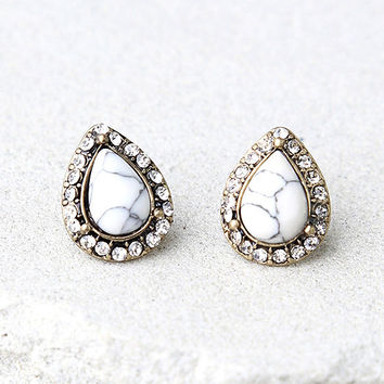 La La Land Gold and White Rhinestone Earrings