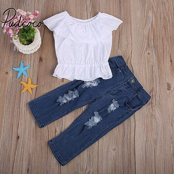 Spring Autumn Baby Girls Clothing 2Pcs Baby Girl Kids Summer Crop Tops Ruffles Tank Top T-shirt Clothes Jeans Pants Outfit