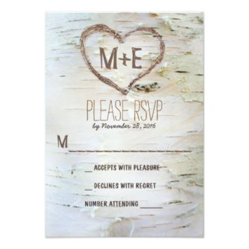 Birch tree heart initials rustic wedding RSVP card 3.5