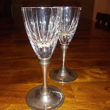 Cut Lead Crystal Cordial, Shot Glasses Silver Plate Stem