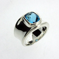 Molten Silver And Blue Topaz Ring