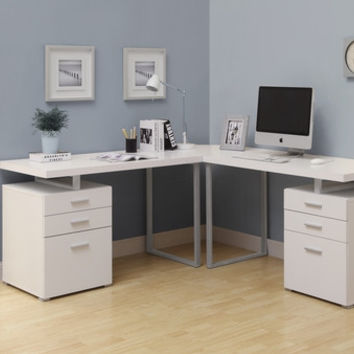 White 3Pc Hollow-Core L-Shaped Desk (2 Desks + 1 Corner Wedge)