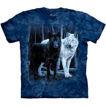 BLACK & WHITE WOLVES T-Shirt The Mountain Night Wolf Forest Wolfpack S-3XL NEW