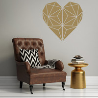 Heart Wall Decor Decal Valentine's Day Love Geometric Dorm Decor Wall Decal Amore Wedding Decor