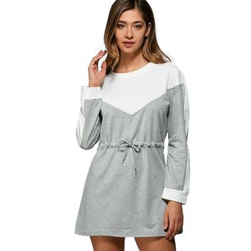 Casual Round Neck Long Sleeve Color Block Adjustable Waist Hoodie Dress for Ladies