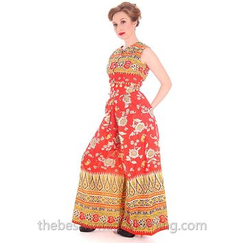 Vintage Gypsy Belly Dance Outfit Palazzo Pants + Coin Embellished Midi Top S 1960s
