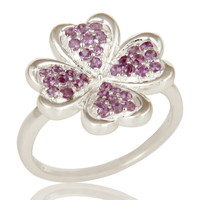 925 Sterling Silver Amethyst Gemstone Flower Cocktail Ring