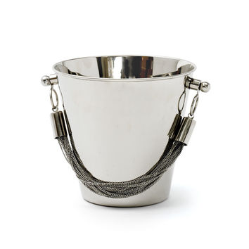 Chained Brass and Stainless Steel Ice Bucket