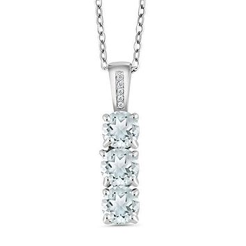 3.00 CT Triple Stone Drop White Topaz Necklace in 18K White Gold Plated
