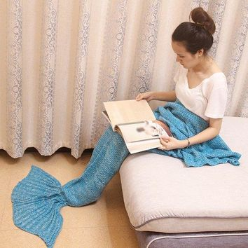 Creative Sofa Decor Knitted Mermaid Blanket