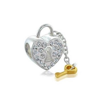 Heart Key Lock Crystal Bead Sterling Silver European Charm Bracelet
