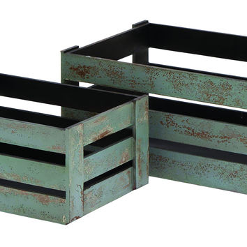 Wood Crate Lazed In Grey Hue - Set Of 2