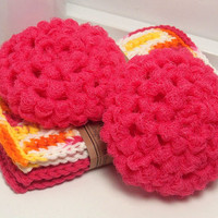 Crochet Dish Scrubbers - Watermelon Pink Scouring Pads - Set of 2