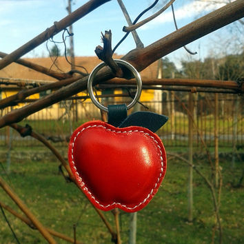 Handmade Leather Keychain Red Apple FREE Shipping