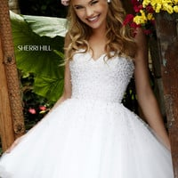 Sherri Hill 11312 Strapless Pearl Beaded Cocktail Dress
