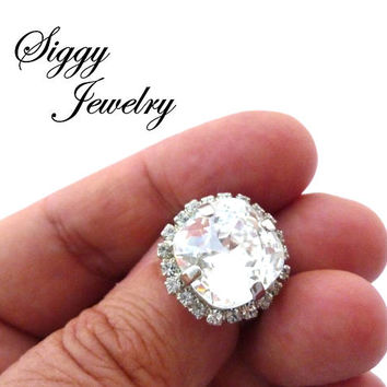 Swarovski Crystal Cushion Cut Halo Ring, Rare Large 14mm Fancy Large Stone, Statement Cocktail Ring, Clear Crystal Adjustable, FREE SHIPPING