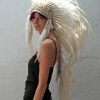 Cowrie Shell All White Long Full Feather Headdress