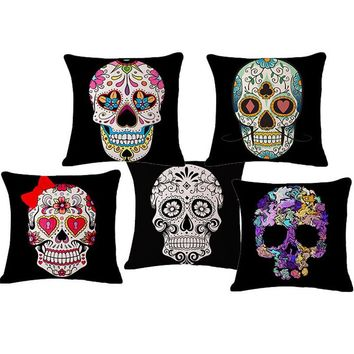 Mexican Skull 45x45cm Linen Printed Sofa Seat Back Decorative Cushion For Chair With No core Vintage Pillow Cojin Pad